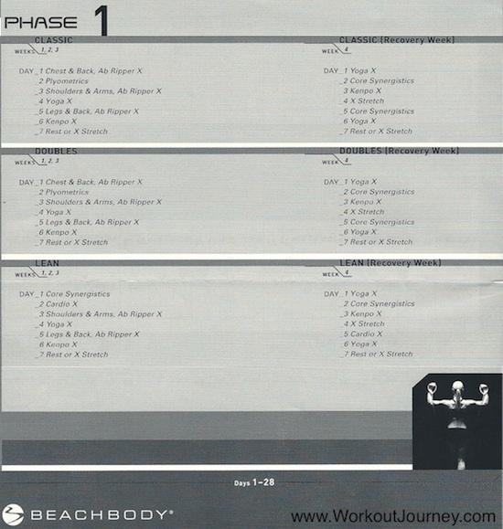 P90X Phase 1 Calendar