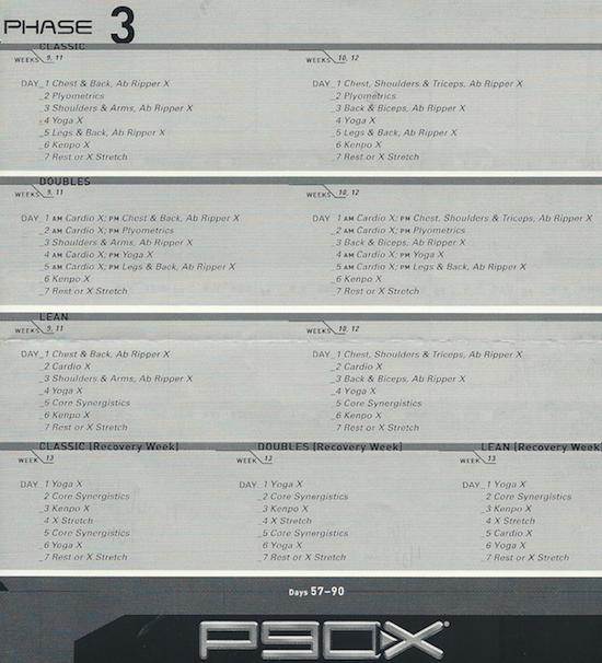 P90X Phase 3 Calendar