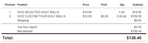 Vice Golf Ball Invoice
