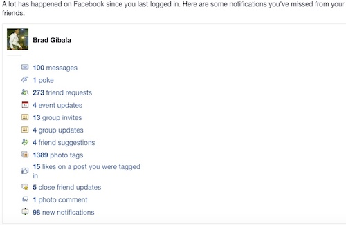 Facebook Missed Notifications Email