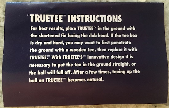 TRUETEE Golf Tee Instructions
