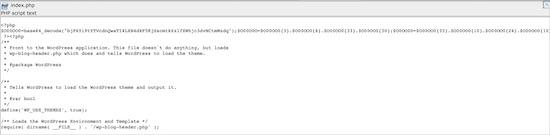 Hacked Index.php WordPress File
