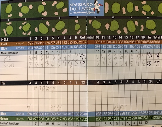 Spessard Holland Golf Course Scorecard Melbourne Florida