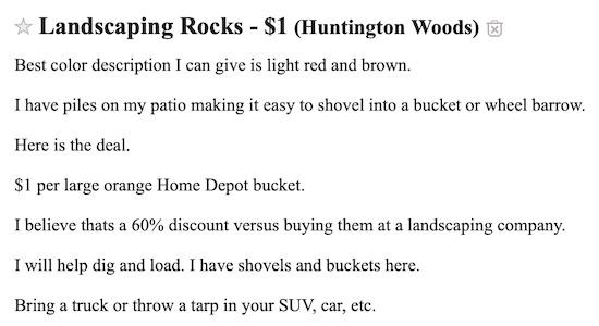 Craigslist Landscaping Rock Ad