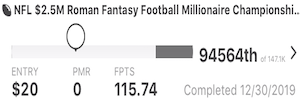 Week 17 DraftKings Detroit Lions